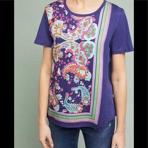 Anthropologie Silk Tee Shirt by Maeve M